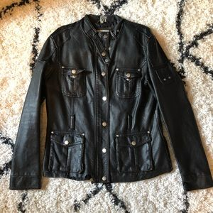 Lapis Black Leather Jacket